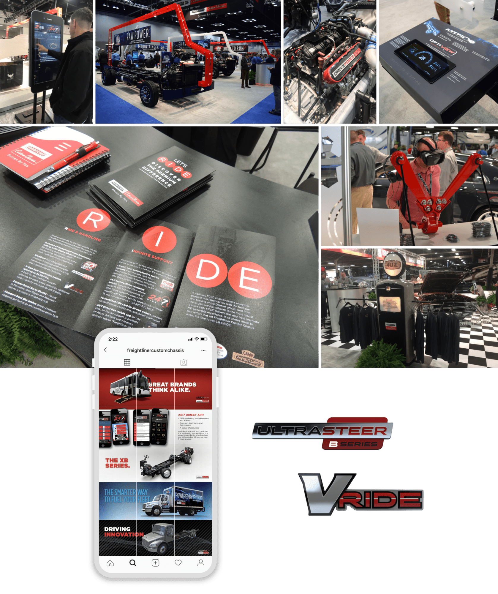 Freightliner Custom Chassis collage of print and product design, and app/website examples